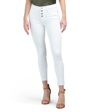 High Rise Button Fly Stretch Skinny Jeans