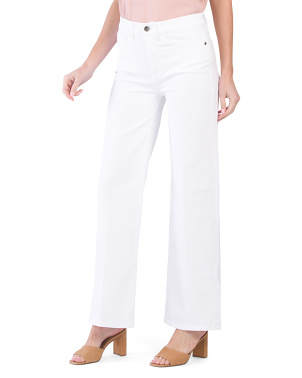 High Rise Stretch Denim Wide Leg Jeans