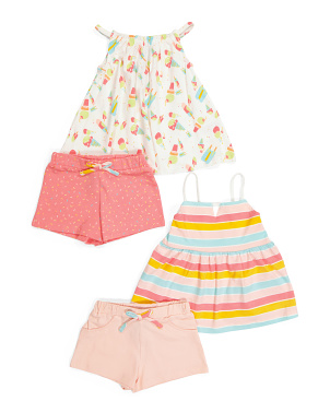 Toddler Girls 4pc Summer Treat Mix & Match Short Set