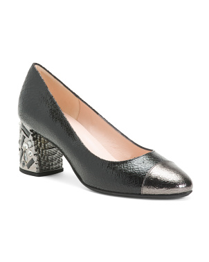 Made In Italy Cap Toe Leather Heels