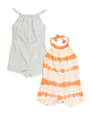 Toddler Girls 2pc Tie Dye & Swiss Dot Romper Set