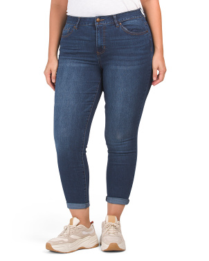 Plus Comfort Fit Rolled Cuff Ankle Jeans