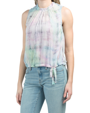 Made In Usa Smocked Sleeveless Top