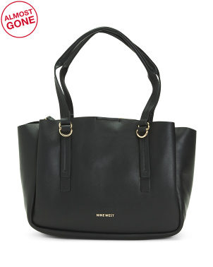 Maisie Triple Compartment Tote With Center Zipper