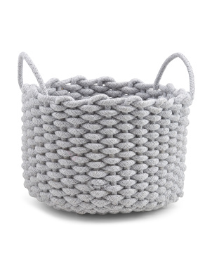 Small Round Chunky Woven Cotton Rope Tote