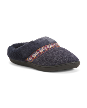 Heathered Knit Faux Suede Slippers