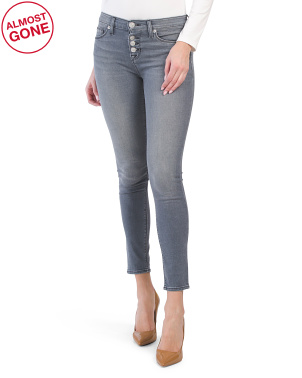 Natalie Mid Rise Exposed Buttons Jeans