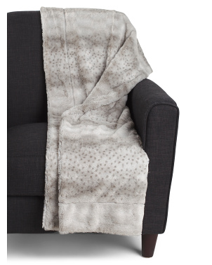 Laura Leopard Printed Sculpted Faux Fur Decorative Throw