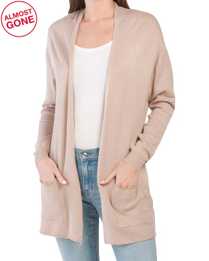 Juniors Long Open Cardigan With Pockets