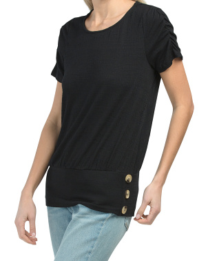 Ruched Sleeve Side Button Top