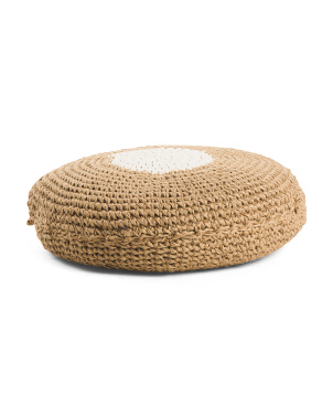 24x6 Hand Woven Round Pouf