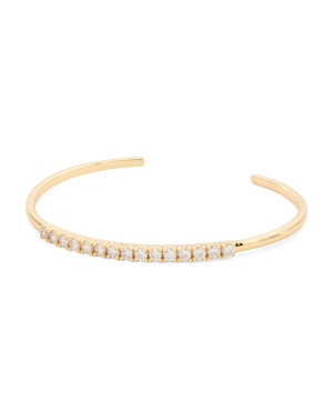Made In Usa 18k Gold Plated Cz Bar Cuff Bracelet
