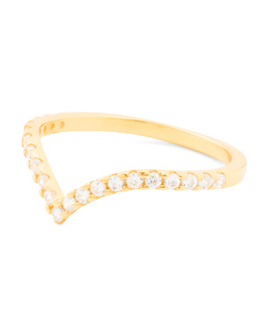 Made In Usa 18k Gold Plated Dillon Pave Cz Ring