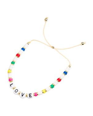 Made In Usa Beaded Love Stretch Bracelet