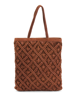 Leather Woven Tote With Braided Handles