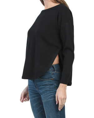 Side Slit Round Hem Tunic Sweater