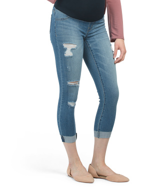 Maternity Cuffed Jeans With Raw Hem