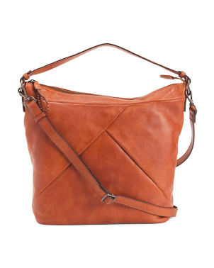 Leather Asymmetrical Pleated Tokyo Hobo