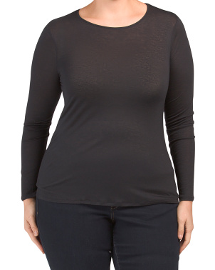 Plus Lightweight Wool Blend Long Sleeve Top