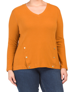 Plus Long Sleeve Soft Knit Top With Front Slits
