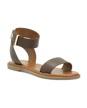 Ankle Strap Flat Leather Sandals