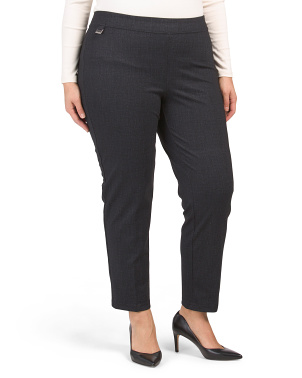Plus Pull On Printed Comfort Compression Ponte Pants