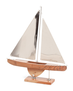22in Metal And Wood Sailboat