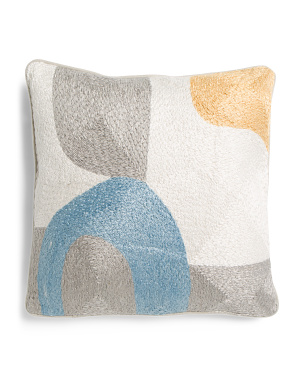 18x18 Modern Linen Embroidered Pillow