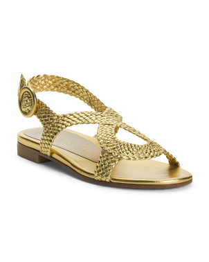 Made In Spain Leather Flat Metallic Sandals