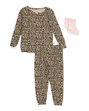 Baby Girls Cheetah Sleep Set With Socks