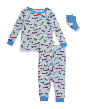 Baby Boys Car Sleep Set With Socks