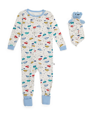 Baby Boys Cars Coveralls With Lovey