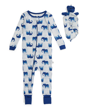 Baby Boys Elephant Coverall With Lovie