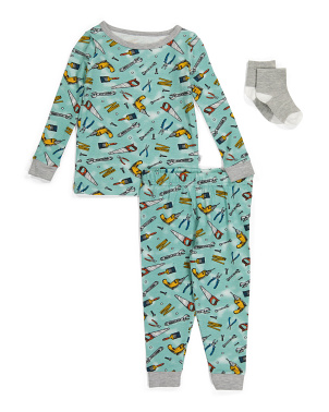 Baby Boys Tool Sleep Set With Socks