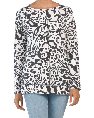 French Terry Animal Print Tunic Top