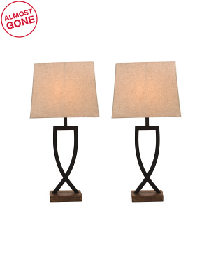 Set Of 2 Metal Table Lamps