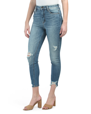 The Taylor High Rise Hem Detail Skinny Jeans
