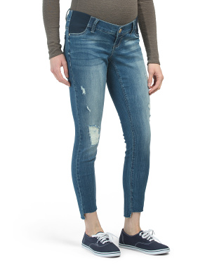 Maternity Ankle Skinny Jeans With Raw Step Hem