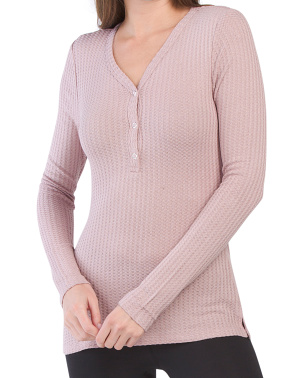 V-neck Knit Thermal Top