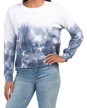 Long Sleeve Crew Neck Tie Dye Top