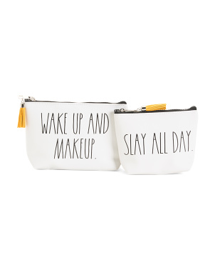 Set Of 2 Slay Makeup Pouches