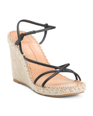 Leather Strappy Espadrille Wedge Sandals