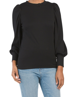 Long Sleeve Puff Ribbed Top