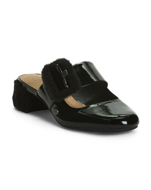 Patent Leather Buckle Heeled Mules