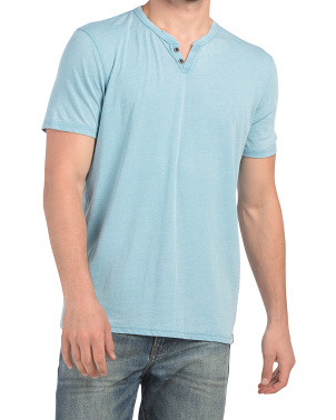 Short Sleeve Burnout Button Neck Tee