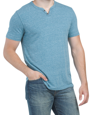 Button Notch Neck Tee