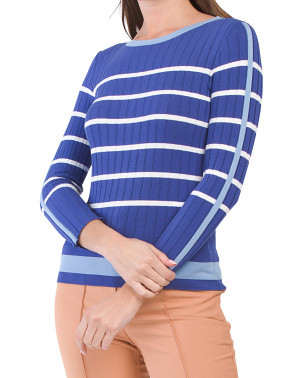 Made In Italy Striped Ribbed Sweater