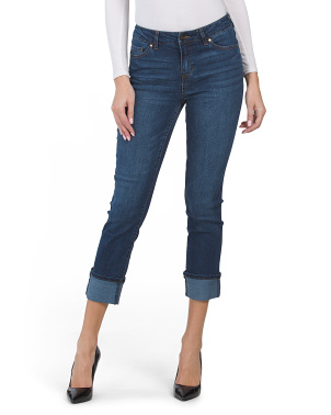 High Waisted Recycled Cuffed Girlfriend Ankle Jeans