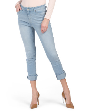 High Waist Recycled Cuffed Girlfriend Ankle Jeans