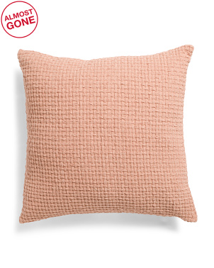 22x22 Coral Chenille Basketweave Pillow
